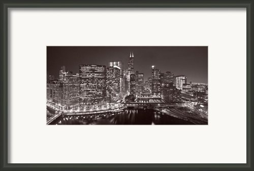 Chicago River Panorama B W Framed Print By Steve Gadomski