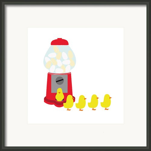 Chicks Coming Out Of A Gumball Machine Framed Print By Bea Crespo