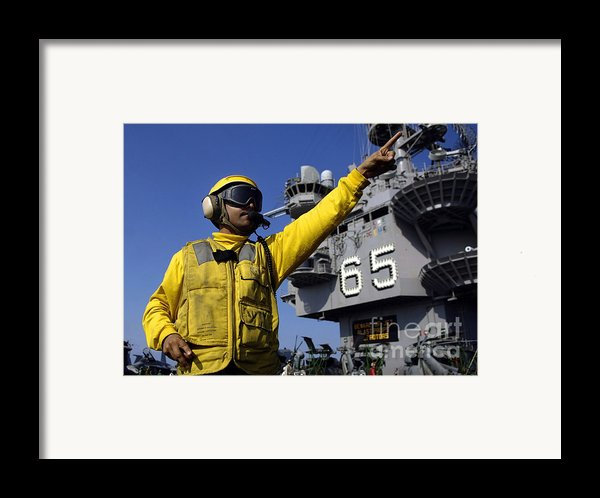 Chief Aviation Boatswains Mate Directs Framed Print By Stocktrek Images