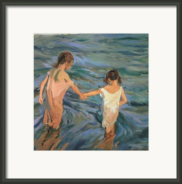 Children In The Sea Framed Print By Joaquin Sorolla Y Bastida