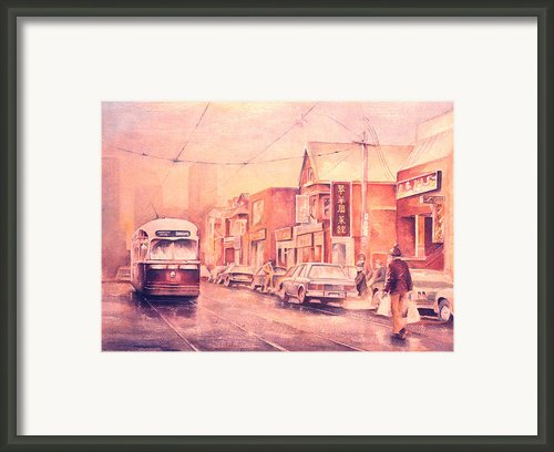 Chinatown Streetcar Toronto Framed Print By Merv Scoble