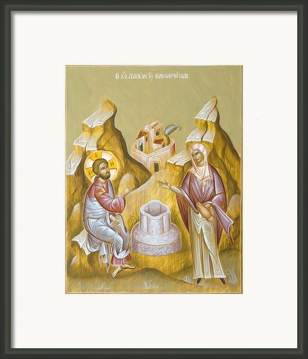 Christ And The Samaritan Woman Framed Print By Julia Bridget Hayes