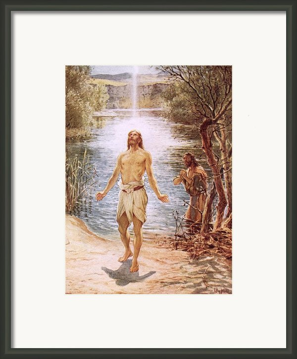 Christ Baptised By John The Baptist Framed Print By William Brassey Hole