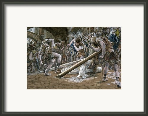 Christ Falls Beneath The Cross Framed Print By Tissot
