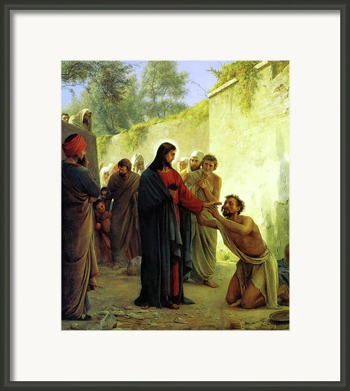 Christ Healing The Blind Man Framed Print By Carl Heinrich Bloch
