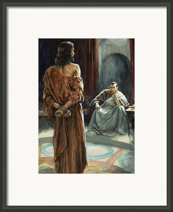Christ In Front Of Pontius Pilate Framed Print By Henry Coller