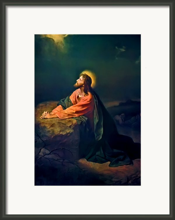 Christ In Garden Of Gethsemane Framed Print By Heinrich Hofmann