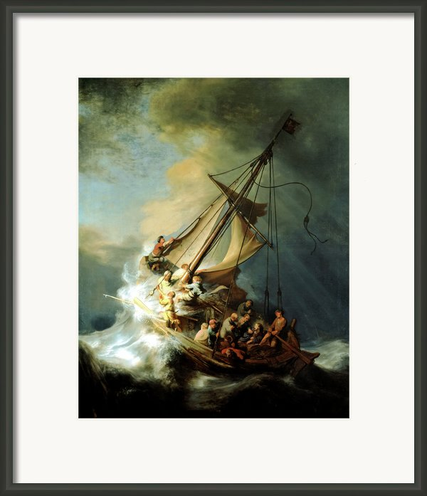 Christ In The Storm Framed Print By Rembrandt