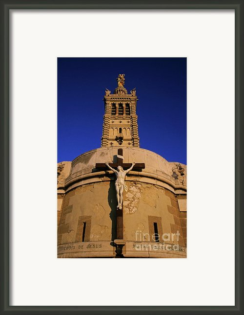 Christ On The Cross Outside The Nortre Dame De La Garde Framed Print By Sami Sarkis