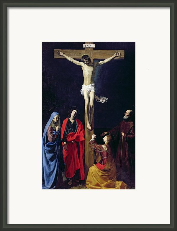Christ On The Cross With The Virgin Mary Magdalene St John And St Francis Of Paola Framed Print By Nicolas Tournier