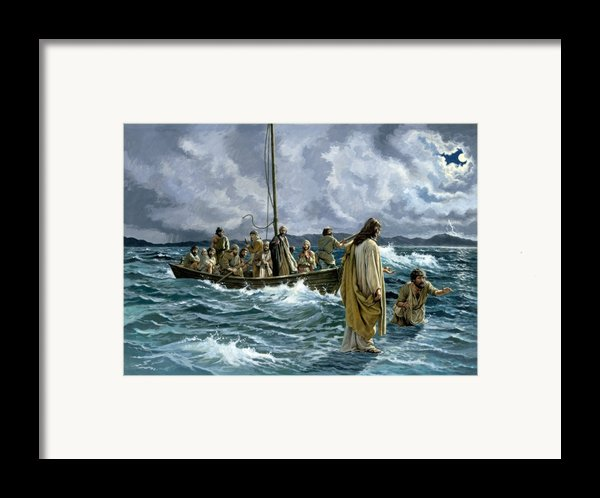 Christ Walking On The Sea Of Galilee Framed Print By Anonymous