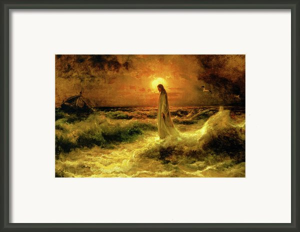 Christ Walking On The Waters Framed Print By Christ Images