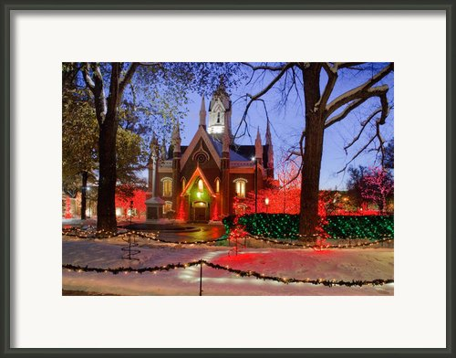 Christmas Lights At Temple Square Framed Print By Utah Images
