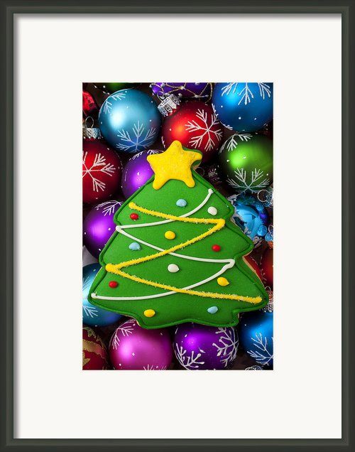 Christmas Tree Cookie With Ornaments Framed Print By Garry Gay