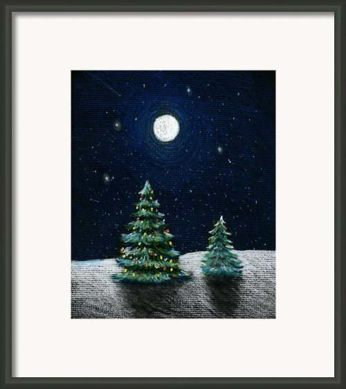 Christmas Trees In The Moonlight Framed Print By Nancy Mueller
