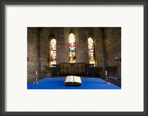 Church And Open Bible, Holy Island Framed Print By John Short