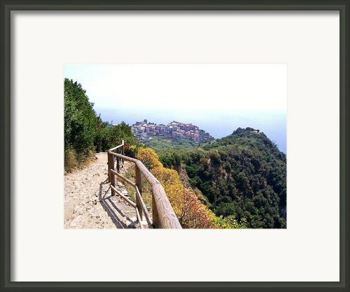 Cinqre Terre Corniglia From The Trail Framed Print By Marilyn Dunlap