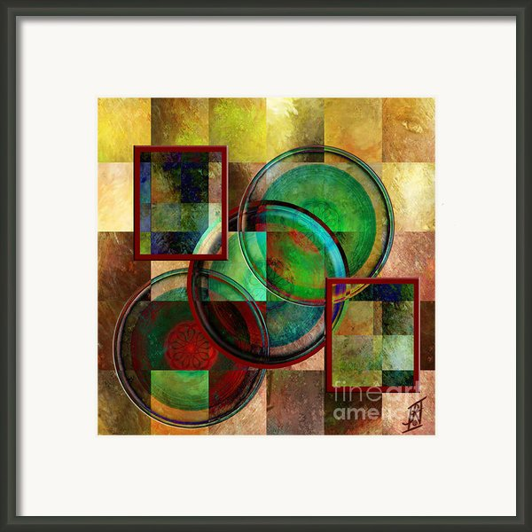 Circles And Squares Triptych Centre Framed Print By Rosy Hall