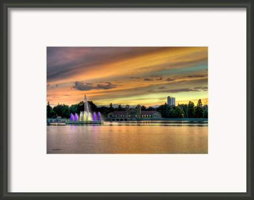 City Park Fountain At Sunset Framed Print By Stephen  Johnson