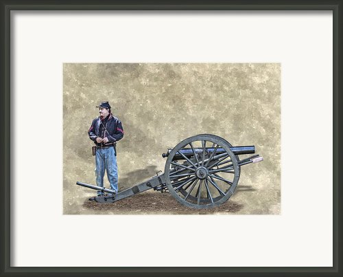 Civil War Union Artillery Corporal With Cannon Framed Print By Randy Steele