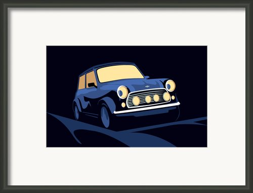 Classic Mini Cooper In Blue Framed Print By Michael Tompsett