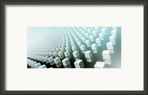 Close-up Of Cubes On Black And Blue Framed Print By Ralf Hiemisch