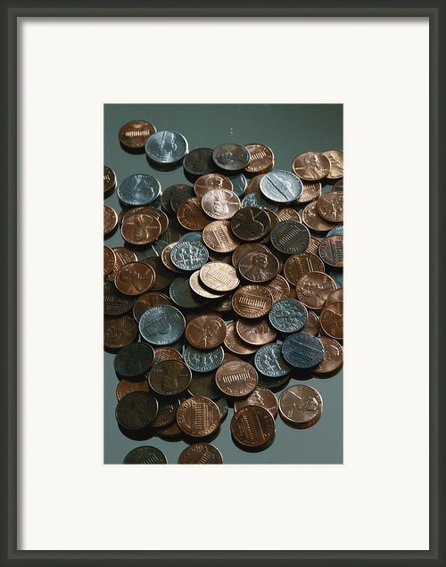 Close View Of United States Coins Framed Print By Vlad Kharitonov