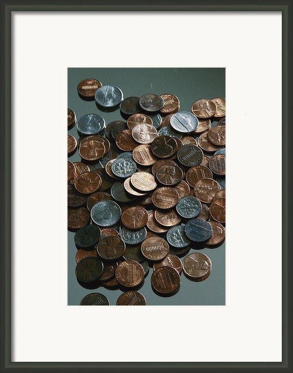 Close View Of United States Coins Framed Print By Vlad Kharitonov