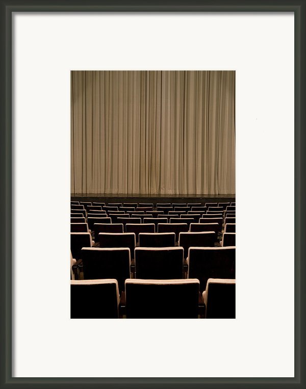 Closed Curtain In An Empty Theater Framed Print By Adam Burn