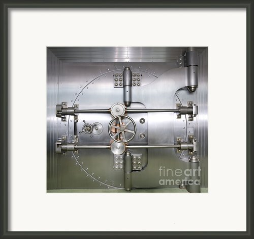 Closed Door To A Bank Vault Framed Print By Adam Crowley
