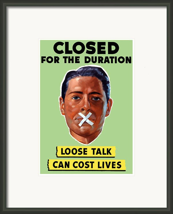 Closed For The Duration Framed Print By War Is Hell Store
