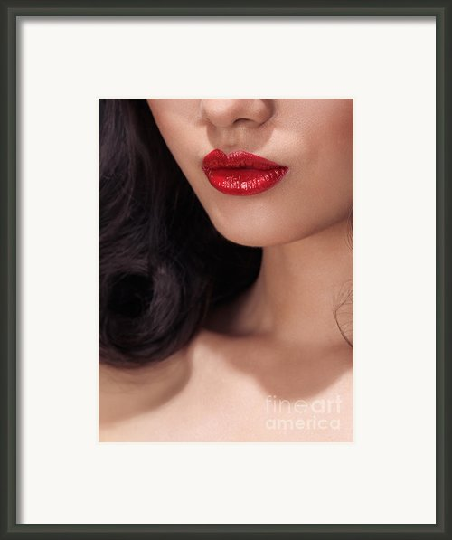 Closeup Of Woman Red Lips Framed Print By Oleksiy Maksymenko