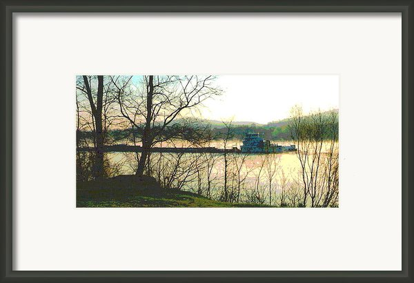 Coal Barge In Ohio River Mist Framed Print By Padre Art