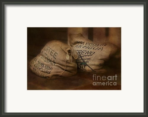 Coffee Beans In Burlap Bags Framed Print By Susan Candelario