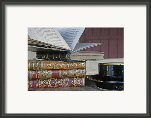 Coffee Break With Books Framed Print By Georgia Fowler
