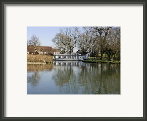 College Barge At Sandford Uk Framed Print By Mike Lester