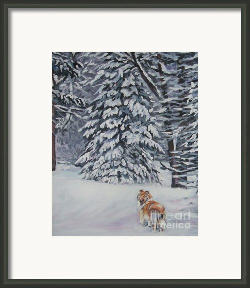 Collie Sable Christmas Tree Framed Print By L A Shepard
