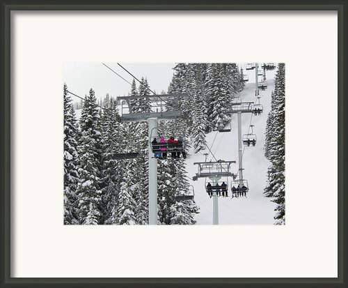 Colorado Chair Lift During Winter Framed Print By Brendan Reals