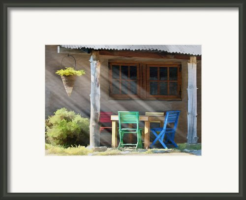 Colorful Chairs Framed Print By Sharon Foster