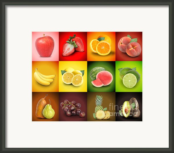 Colorful Fruit Food Square Background Framed Print By Angela Waye