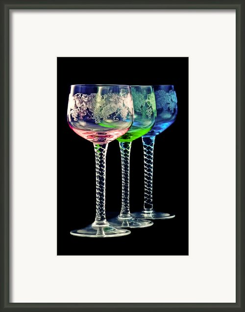 Colorful Wine Glasses Framed Print By Gert Lavsen