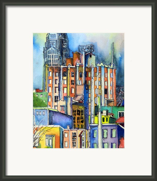 Columbus Ohio City Lights Framed Print By Mindy Newman