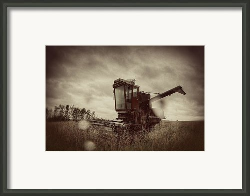 Combine Out To Pasture Framed Print By Thomas Zimmerman