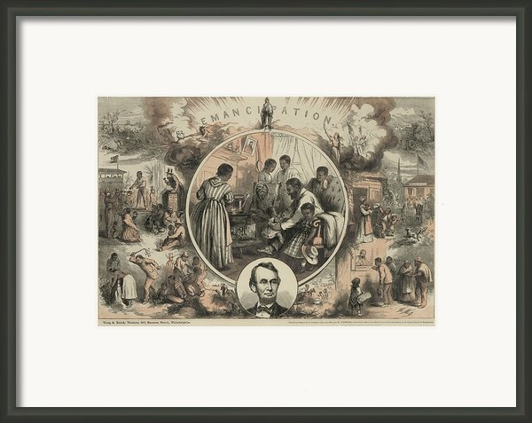 Commemoration Of The Emancipation Framed Print By Everett