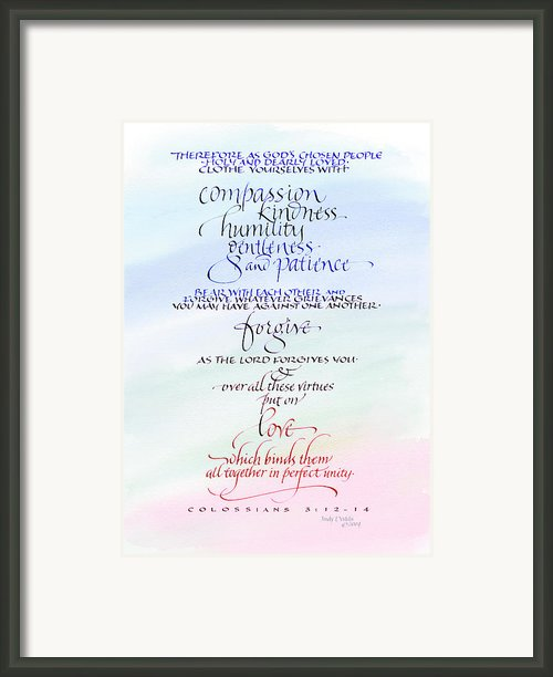 Compassion And Love Framed Print By Judy Dodds
