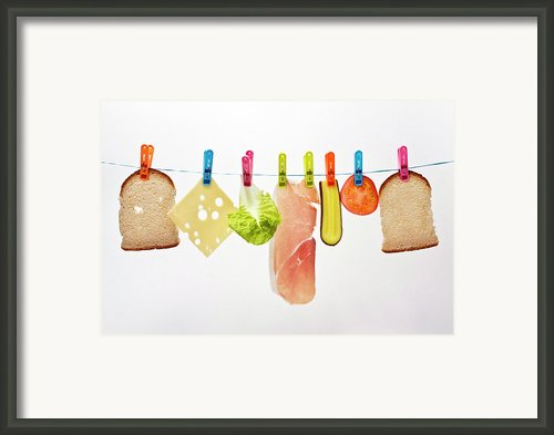 Components Of Sandwich Pegged To Washing Line Framed Print By Image By Catherine Macbride
