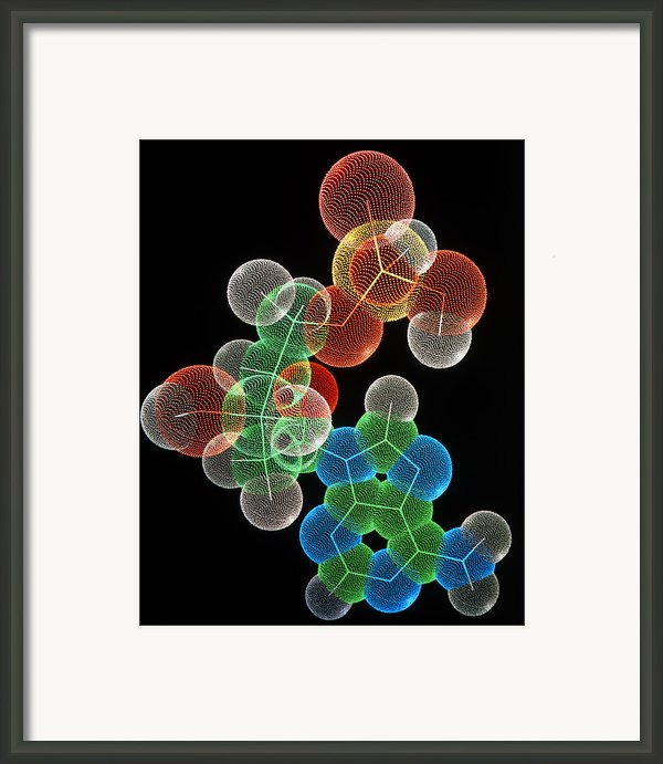 Computer Graphic Of A Molecule Of Amp Framed Print By Pasieka
