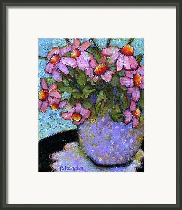 Coneflowers In Lavender Vase Framed Print By Blenda Studio