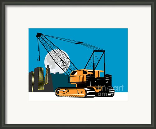 Construction Crane Hoist Retro Framed Print By Aloysius Patrimonio