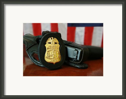Contemporary Fbi Badge And Gun Framed Print By Everett